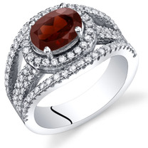 Garnet Lateral Halo Ring Sterling Silver 1.50 Carats Sizes 5 to 9 SR11368