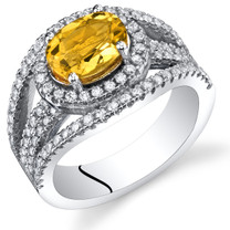Citrine Lateral Halo Ring Sterling Silver 1.00 Carat Sizes 5 to 9 SR11376