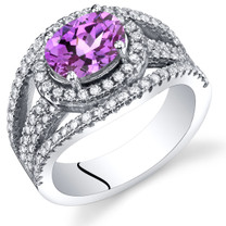 Created Pink Sapphire Lateral Halo Ring Sterling Silver 1.75 Carats Sizes 5 to 9 SR11382