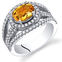 Created Padparadscha Sapphire Lateral Halo Ring Sterling Silver 1.75 Carats Sizes 5 to 9 SR11384