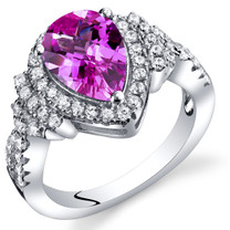 Created Pink Sapphire Tear Drop Checkerboard Ring Steriling Silver 2.50 Carats Sizes 5 to 9 SR11400