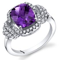 Amethyst Anti Cushion Cut Ring Sterling Silver 1.75 Carats Sizes 5 to 9 SR11406