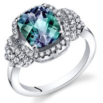 Simulated Alexandrite Anti Cushion Cut Ring Sterling Silver 2.75 Carats Sizes 5 to 9 SR11408