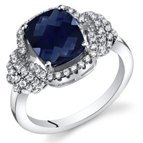 Created Sapphire Anti Cushion Cut Ring Sterling Silver 2.75 Carats Sizes 5 to 9 SR11414