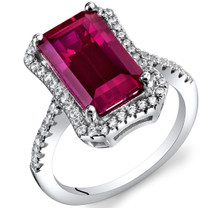 4.25 Carat Created Ruby Octagon Ring Sterling Silver Sizes 5 to 9 SR11420