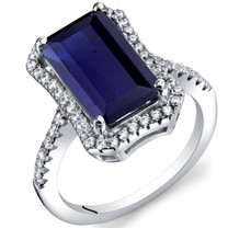 4.50 Carat Created Sapphire Octagon Ring Sterling Silver Sizes 5 to 9 SR11426