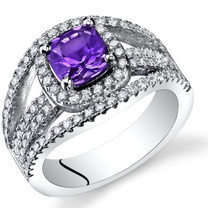 Amethyst Cushion Cut Pave Ring Sterling Silver 0.75 Carats Sizes 5 to 9 SR11438