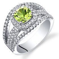 Peridot Cushion Cut Pave Ring Sterling Silver 1.00 Carats Sizes 5 to 9 SR11442