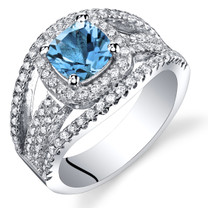 London Blue Topaz Cushion Cut Pave Ring Sterling Silver 1.00 Carats Sizes 5 to 9 SR11446