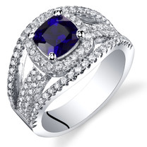 Created Sapphire Cushion Cut Pave Ring Sterling Silver 1.25 Carats Sizes 5 to 9 SR11448