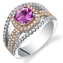 Created Pink Sapphire Cushion Cut Pave Rose Tone Ring Sterling Silver 1.25 Carats Sizes 5 to 9 SR11452