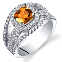 Created Padparadscha Sapphire Cushion Cut Pave Ring Sterling Silver 1.25 Carats Sizes 5 to 9 SR11456