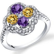 Amethyst and Citrine Clover Ring Sterling Silver Sizes 5 to 9 SR11460