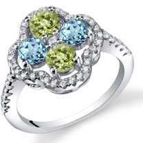Swiss Blue Topaz and Peridot Clover Ring Sterling Silver Sizes 5 to 9 SR11462