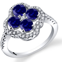 Created Sapphire Clover Ring Sterling Silver Sizes 5 to 9 SR11472