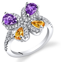 Amethyst and Citrine Butterfly Ring Sterling Silver 1.00 Carats Sizes 5 to 9 SR11474