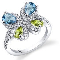 Swiss Blue Topaz and Peridot Butterfly Ring Sterling Silver 1.50 Carats Sizes 5 to 9 SR11476
