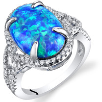 Created Blue Opal Halo Ring Sterling Silver  2.25 Carats Sizes 5 to 9 SR11480