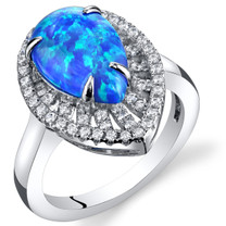 Created Blue Opal Tear Drop Cabochon Ring Sterling Silver 1.50 Carats Sizes 5 to 9 SR11482