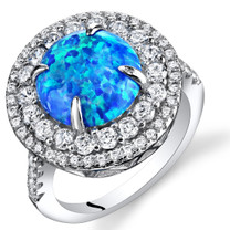 Created Blue Opal Concentric Ring Sterling Silver 1.50 Carats  Sizes 5 to 9 SR11484