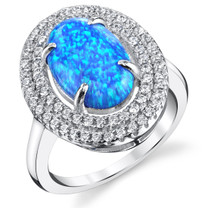 Created Blue Opal Double Row Sterling Silver 1.75 Carats Sizes 5 to 9 SR11486