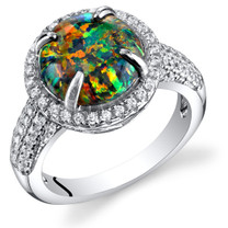 Created Black Opal Ring Sterling Silver Round Cabochon 1.50 Carats Sizes 5 to 9 SR11488