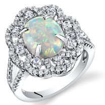Created Opal Victorian Ring Sterling Silver Oval Cabochon 1.25 Carats Sizes 5 to 9 SR11490