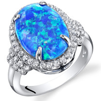 Created Blue Opal Designer Ring Sterling Silver  2.25 Carats Sizes 5 to 9 SR11492