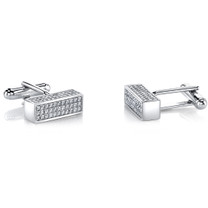 Sterling Silver Mens Bar Cufflinks with Cubic Zirconia