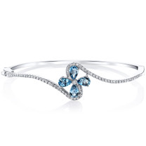 London Blue Topaz Petal Bangle Bracelet Sterling Silver Tear Drop 2 Carats SB4402