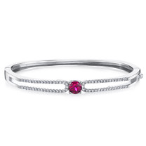 Created Ruby Solaris Bangle Bracelet Sterling Silver 1.25 Carats SB4406