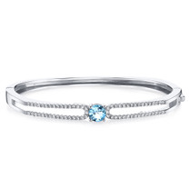 Swiss Blue Topaz Solaris Bangle Bracelet Sterling Silver 1 Carats SB4410