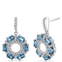 London Blue Topaz Dahlia Drop Earrings Sterling Silver 3 Carats SE8570