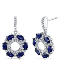 Created Blue Sapphire Dahlia Drop Earrings Sterling Silver 3 Carats SE8572