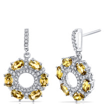 Citrine Dahlia Drop Earrings Sterling Silver 3 Carats SE8576