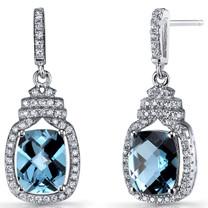 London Blue Topaz Halo Crown Dangle Earrings Sterling Silver 4.5 Carats SE8580