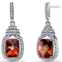 Created Padparadscha Sapphire Halo Crown Dangle Earrings Sterling Silver 6 Carats SE8590