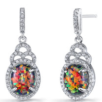 Created Black Opal Harlequin Dangling Earrings Sterling Silver 3 Carats SE8596