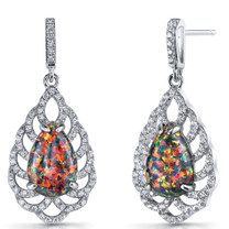 Created Black Opal Vintage Dangle Earrings Sterling Silver 4 Carats SE8600