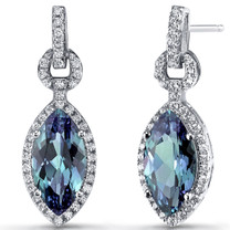 Simulated Alexandrite Marquise Dangle Drop Earrings Sterling Silver 4.5 Carats SE8606