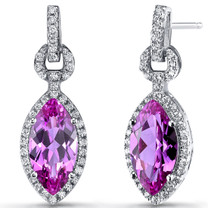 Created Pink Sapphire Marquise Dangle Drop Earrings Sterling Silver 4.5 Carats SE8608