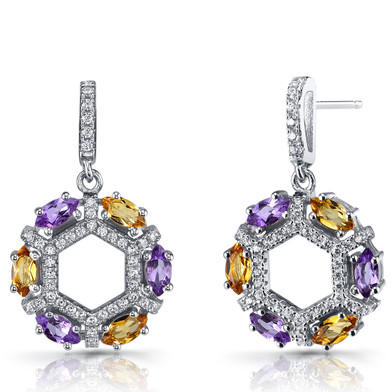 Amethyst and Citrine Hexagon Dangle Earrings Sterling Silver SE8612