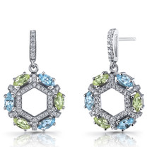 Swiss Blue Topaz and Peridot Hexagon Dangle Earrings Sterling Silver SE8614