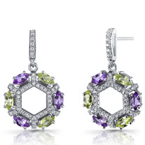 Amethyst and Peridot Hexagon Dangle Earrings Sterling Silver SE8618