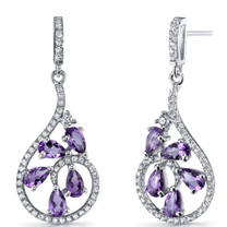 Amethyst Dewdrop Earrings Sterling Silver 2.5 Carats SE8620