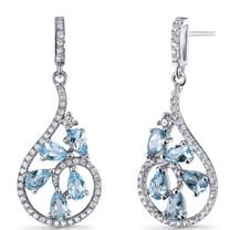 Swiss Blue Topaz Dewdrop Earrings Sterling Silver 2.5 Carats SE8626