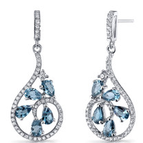 London Blue Topaz Dewdrop Earrings Sterling Silver 2.5 Carats SE8628