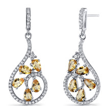 Citrine Dewdrop Earrings Sterling Silver 2.5 Carats SE8634