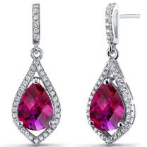 Created Ruby Tear Drop Dangle Earrings Sterling Silver 5 Carats SE8638
