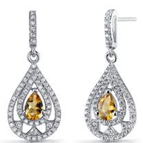 Citrine Chandelier Drop Earrings Sterling Silver 0.5 Carats SE8644